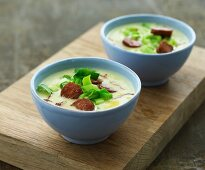 Leek and potato soup with chorizo