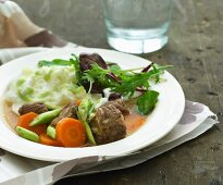 Pork casserole with vegetables and mashed potatoes