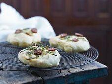 Mini pizzas with rosemary and chorizo