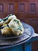 Yeast pastries with cheese and spinach