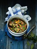 Veal ragout with carrots, spring onions and parsley