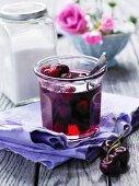A jar of cherry jelly