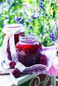 Jars of raspberry jam