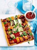Sausage vegetable roulade tart
