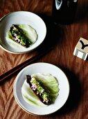 Marinated beef cabbage rolls