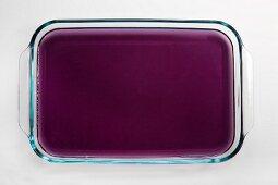 Glass tray of grape gelatin