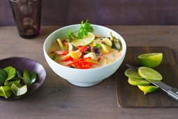 Ginger and lemon soup with peppers
