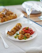 Grilled lamb skewers with a pepper medley