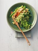 Wild garlic and cheese Knöpfle (Swiss pasta) with fried pointed cabbage