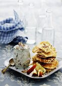 Mini pancakes with apple and nut cream