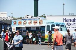 People at a food truck festival in California, USA