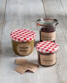 Labels made from brown paper for jars of preserves as gifts