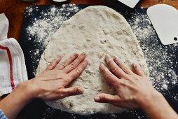 Fougasse being made