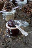 Damson mousse and lard in jars