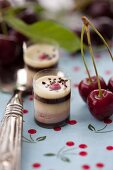 Black Forest pralines with cherries and cherry leaves