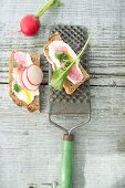 Slices of bread with crème fraîche, grated radishes and a whole radish