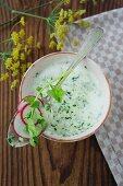 A bowl of cream of radish soup
