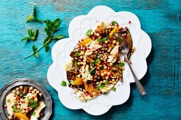 Chickpea salad with haloumi and mint (seen from above)