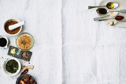 Various ingredients (spices, dried tomatoes and sauces)