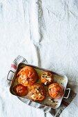 Oven-roasted beefsteak tomatoes