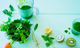 Ingredients for green spring smoothie