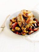 Oven-grilled chicken with an orange and honey glaze and roasted vegetables