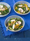 Rocket salad with quinoa, avocado and mango with grilled chicken breast and ginger vinaigrette
