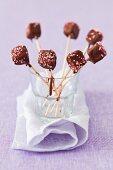 Fruit jelly lollies with chocolate glaze