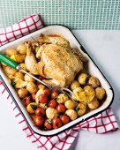 Oven-roasted chicken on a bed of roast vegetables in a baking dish