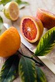 Orange halves and half a lemon