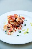 Tabbouleh with prawns and haloumi