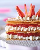 Mille feuilles with cream and strawberries