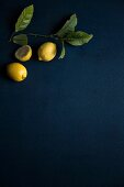 Two whole and one halved lemon with leaves on a blue surface