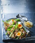 Cos lettuce with soft-boiled eggs, smoked trout and a mustard dressing