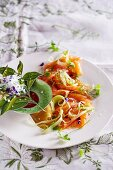 Salmon and fennel carpaccio with orange blossom sauce