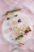 Sweet wine jelly flowers with candied violets and Gorgonzola