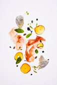 Parma ham with nectarine salad with roasted pistachios and mozzarella