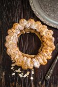 Paris brest with coffee cream and flaked almonds