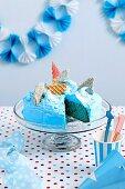 Blue velvet shark cake
