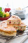 Frittata with smoked salmon, sliced