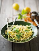 Pasta al limone (spaghetti with lemons, Parmesan and basil, Italy)