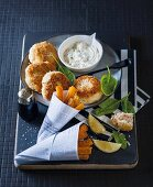 Fishcakes with butternut squash chips and dip