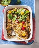 Rice bake with spinach and Parmesan