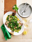 Roast flounder, broccolini, almonds, capers, beurre noisette