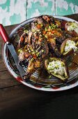 Jerk chicken and grilled sweet potatoes with sour cream