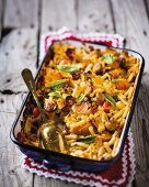 Macaroni and cheese with vegetables and sausage