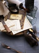 An old cook books, recipes, cutlery and baking utensils