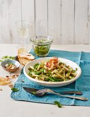 Pasta with pea and chervil pesto, pancetta and toast