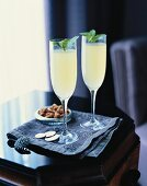 Two Mojito Royals with rum, lemon juice and champagne