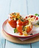 Tomatoes stuffed with mozzarella and basil